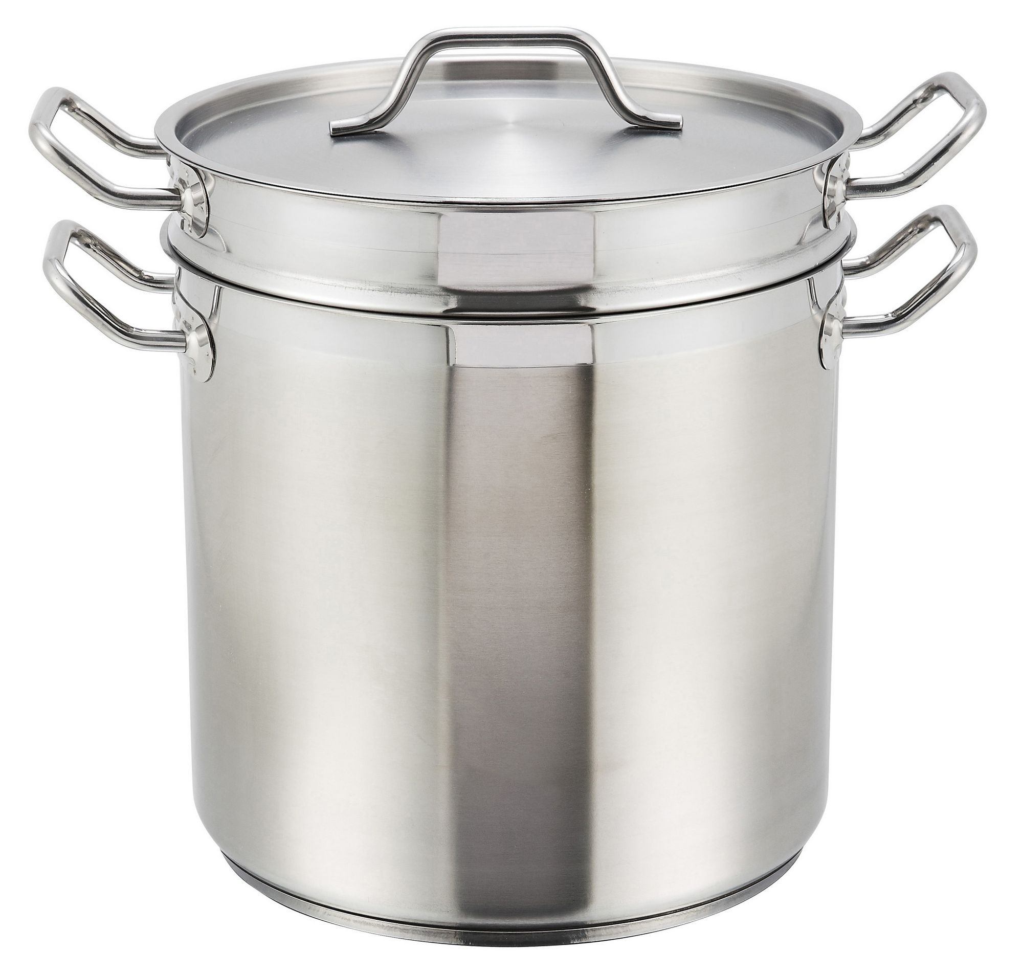 Winco SSDB-8 Stainless Steel 8 Qt. Double Boiler with Cover