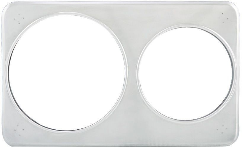 "Winco ADP-608 Stainless Steel Adapter Plate with One 6-3/8"" & One 8-3/8""H ole"