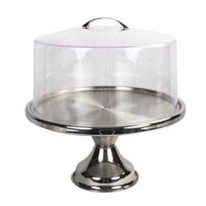 Winco CKS-13CS Stainless Steel Cake Stand with Cover 13