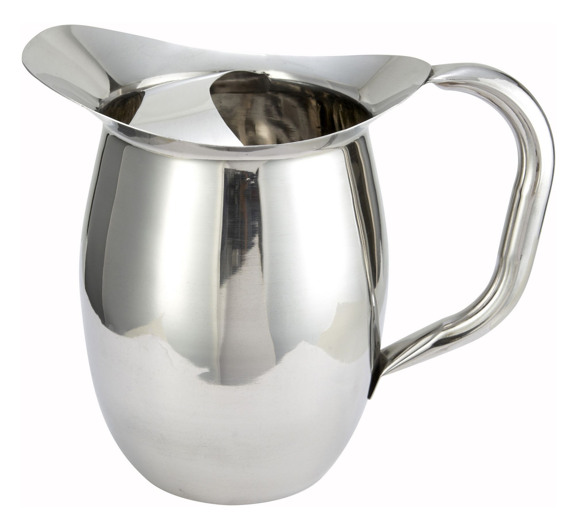 Winco WPB-2C Stainless Steel Deluxe 2 Qt. Bell Water Pitcher with Ice Catcher