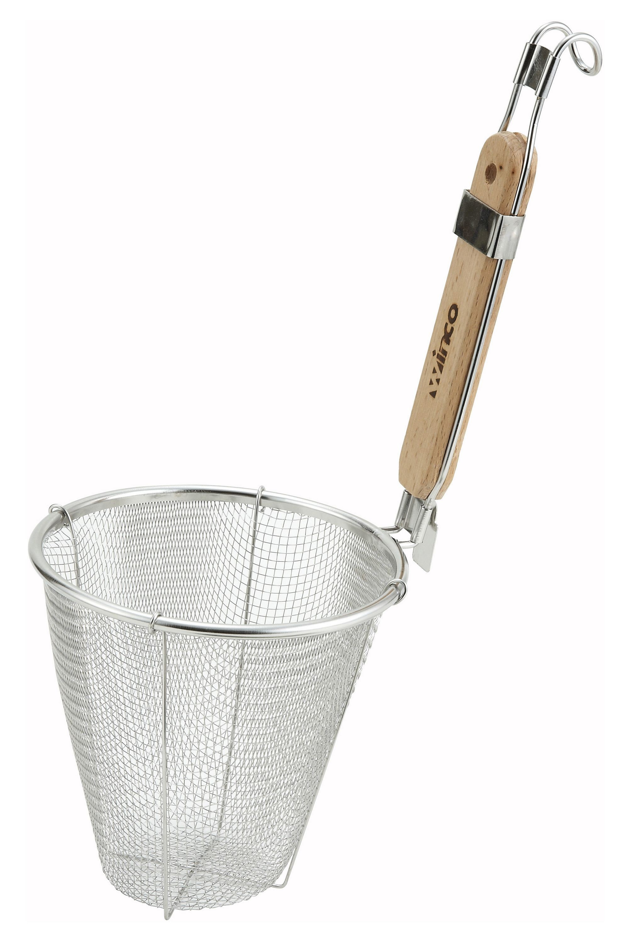 "Winco MSH-5 Stainless Steel Double Mesh Deep Bowl Strainer 5-1/2"" x 6-1/2"""