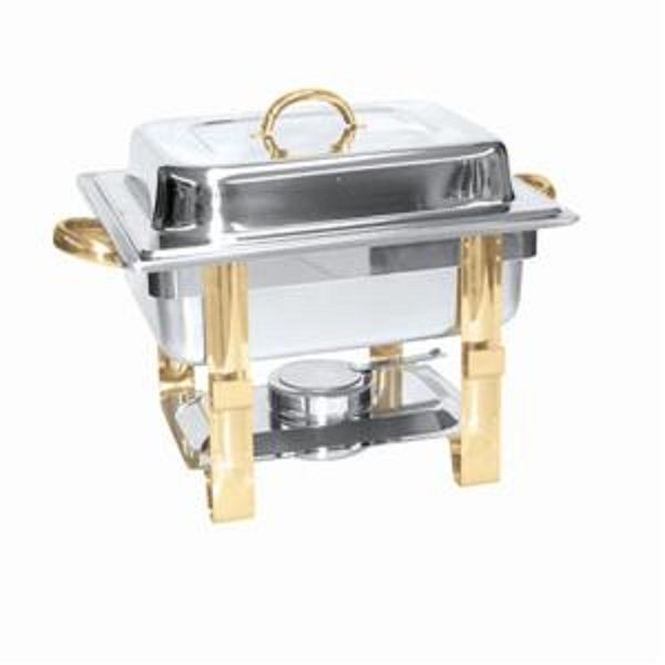 Stainless Steel Gold Accented 4-Quart Malibu Collection Square Chafer