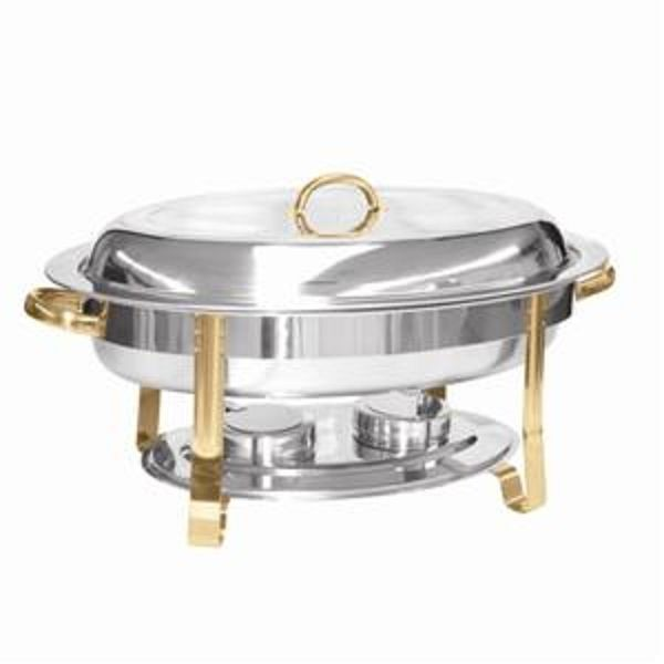 Stainless Steel Gold-Accented 6-Qt Malibu Collection Oval Chafer
