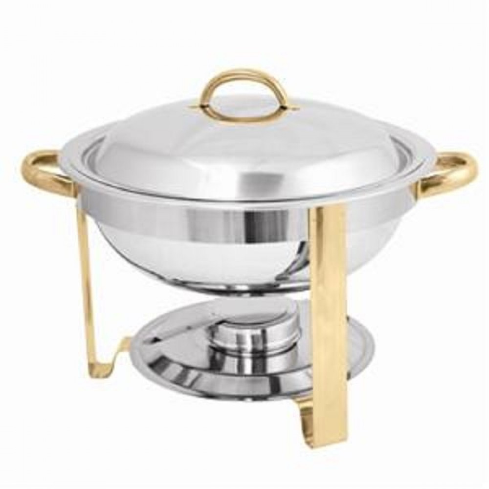 Stainless Steel Gold-Accented 4-Qt Malibu Collection Round Chafer
