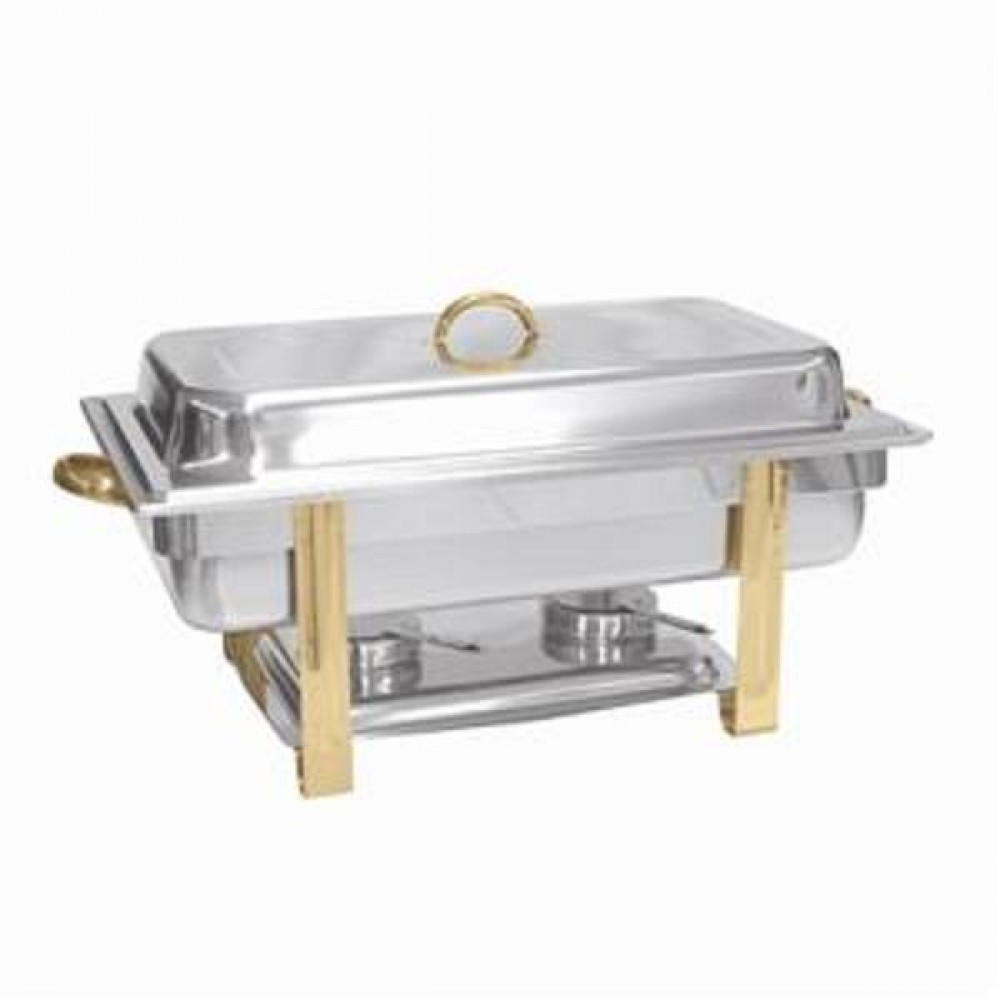 Stainless Steel Gold-Accented 8-Qt Malibu Collection Oblong Chafer [SLRCF0833GH ]