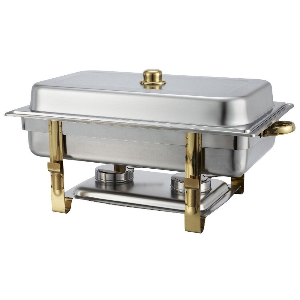 Stainless Steel Gold-Accented 8-Qt Malibu Collection Oblong Chafer [ 201 ]