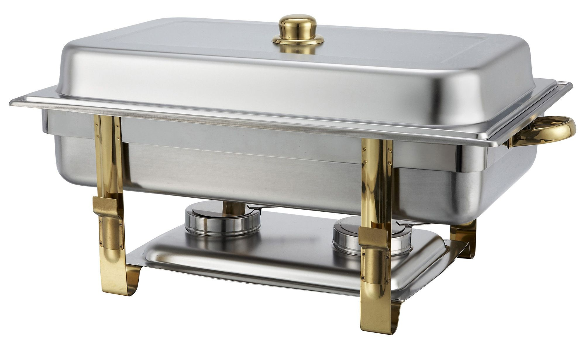 Winco 201 Stainless Steel Gold-Accented 8-Qt Malibu Collection Oblong Chafer