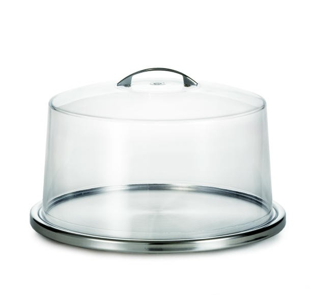 """TableCraft H820P Stainless Steel Low Profile Cake Plate 12-3/4"""" Dia. x 1-1/2"""""""