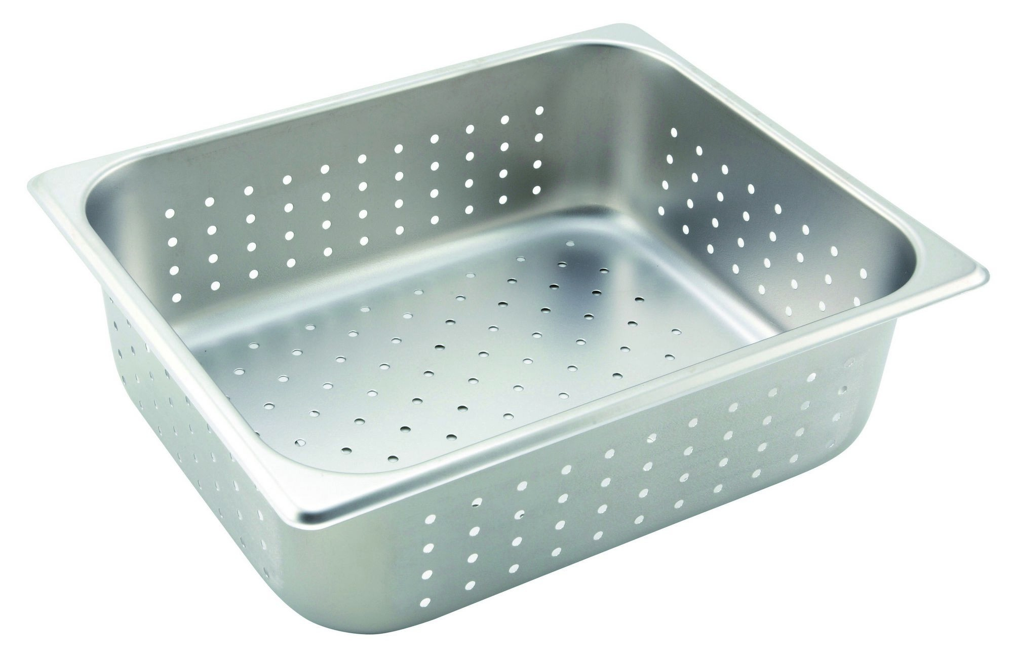 "Winco SPHP4 Stainless Steel Perforated Half-Size Steam Table Pan 4"" Deep"