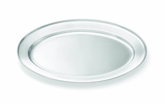 "TableCraft CTX1513 Stainless Steel Rolled Edge Oval Serving Platter, 15-3/4"" x 13"""