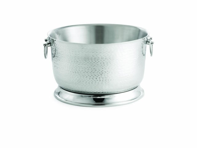 "TableCraft BTB1610 Stainless Steel Round Beverage Tub with Base 16"" Dia. x 10"""