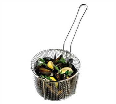 "TableCraft 987 Stainless Steel Round Cooking Basket 8-1/4"" x 5"""