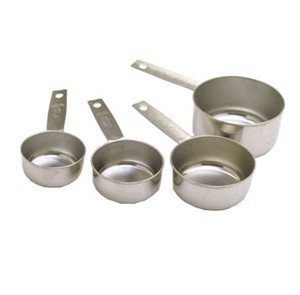 Stainless Steel Standard Measuring Cup Set 1/4, 1/3, 1/2 and 1 Cup