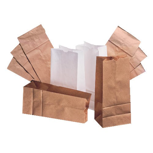 Standard Duty Squat White Paper Grocery Bag # 20 - 14 3/8