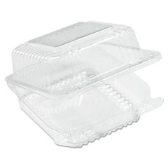 Staylock Clear Hinged Container, Square, Deep Base, 6-1/10 x 6-1/2 x 3, 125/Pack