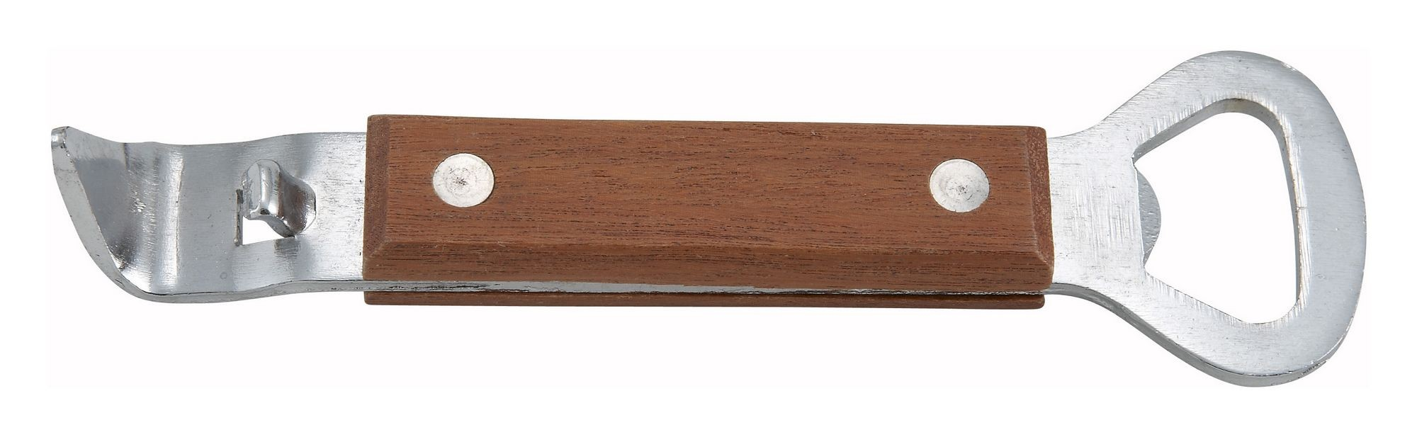 """Winco CO-303 Stainless Steel Can Tapper/Bottle Opener with Wooden Handle 7"""""""