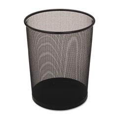 Steel Mesh Wastebasket, Round, 5 gal, Black