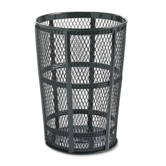 Steel Street Basket Waste Receptacle, Round, Steel, 48 gal, Black