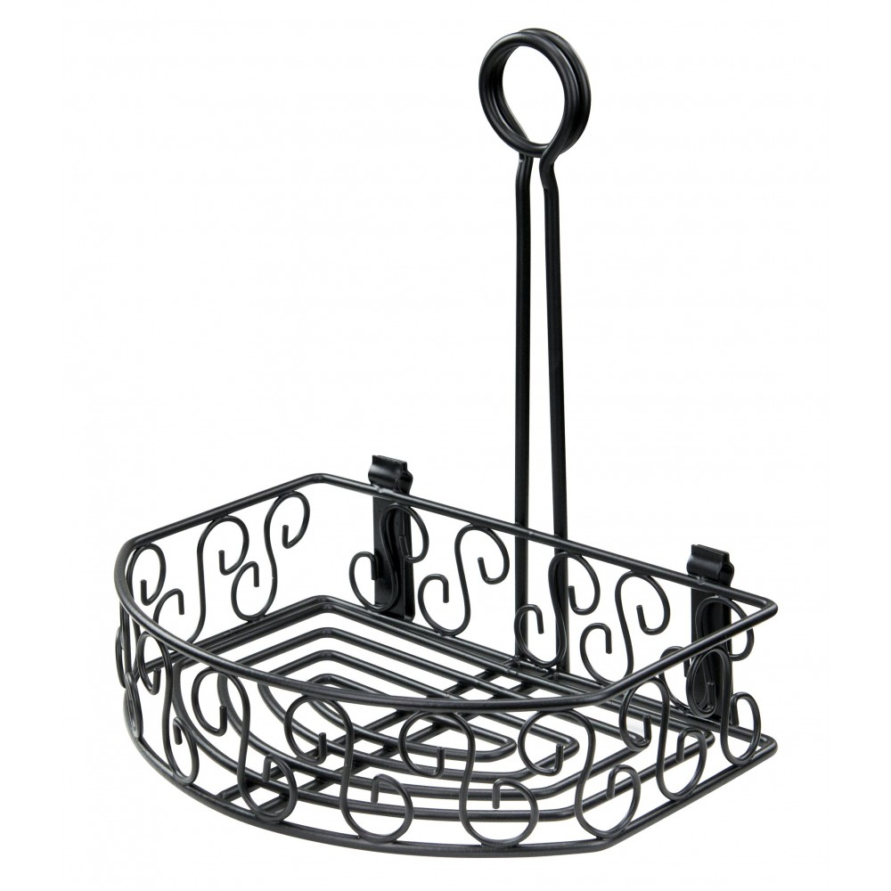Straight Back Black Wire Tabletop Condiment Rack 8-1/4
