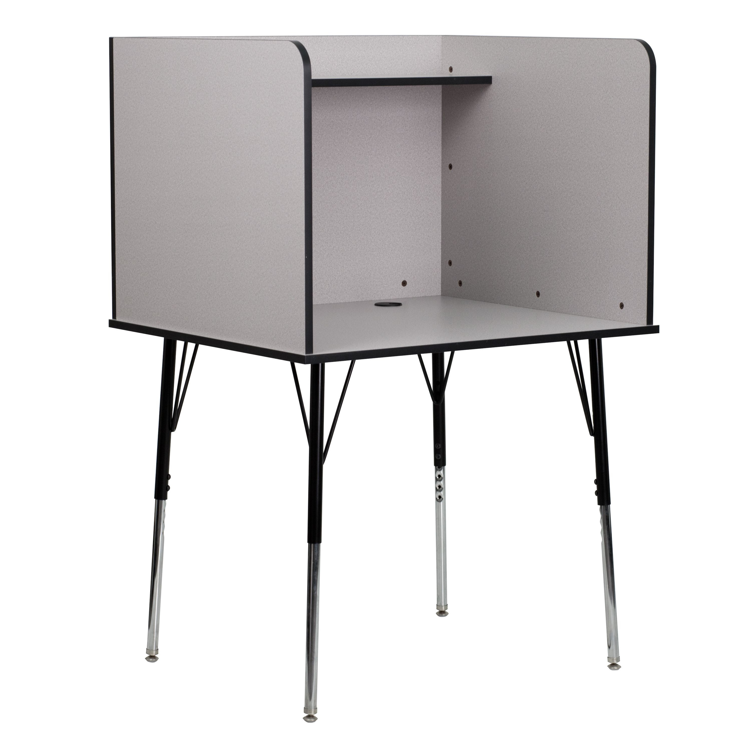 Flash Furniture MT-M6221-GREY-GG Study Carrel with Adjustable Legs and Top Shelf/ Nebula Grey Finish