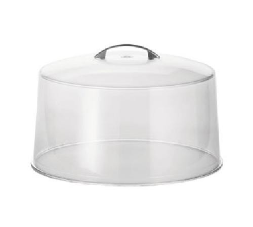 "TableCraft 422 Clear Plastic Cake Cover with Metal Handle 12"" x 7-1/2"""