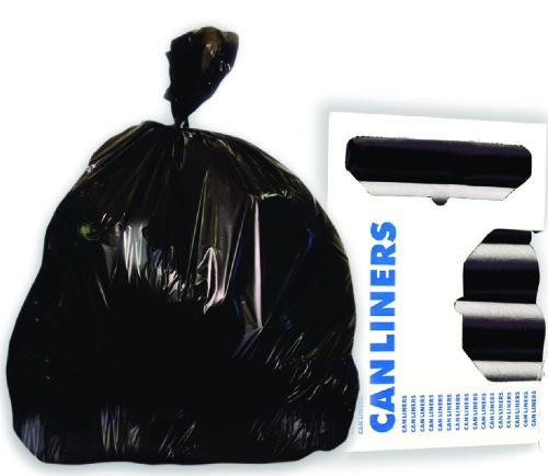 "Super Extra-Heavy Grade Can Liners, 33"" x 39"", 2.0 Mil, 33-Gallon, Black, 10/Roll"