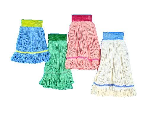 Super Loop Wet Mop Head, Cotton/Synthetic, Medium Size, White