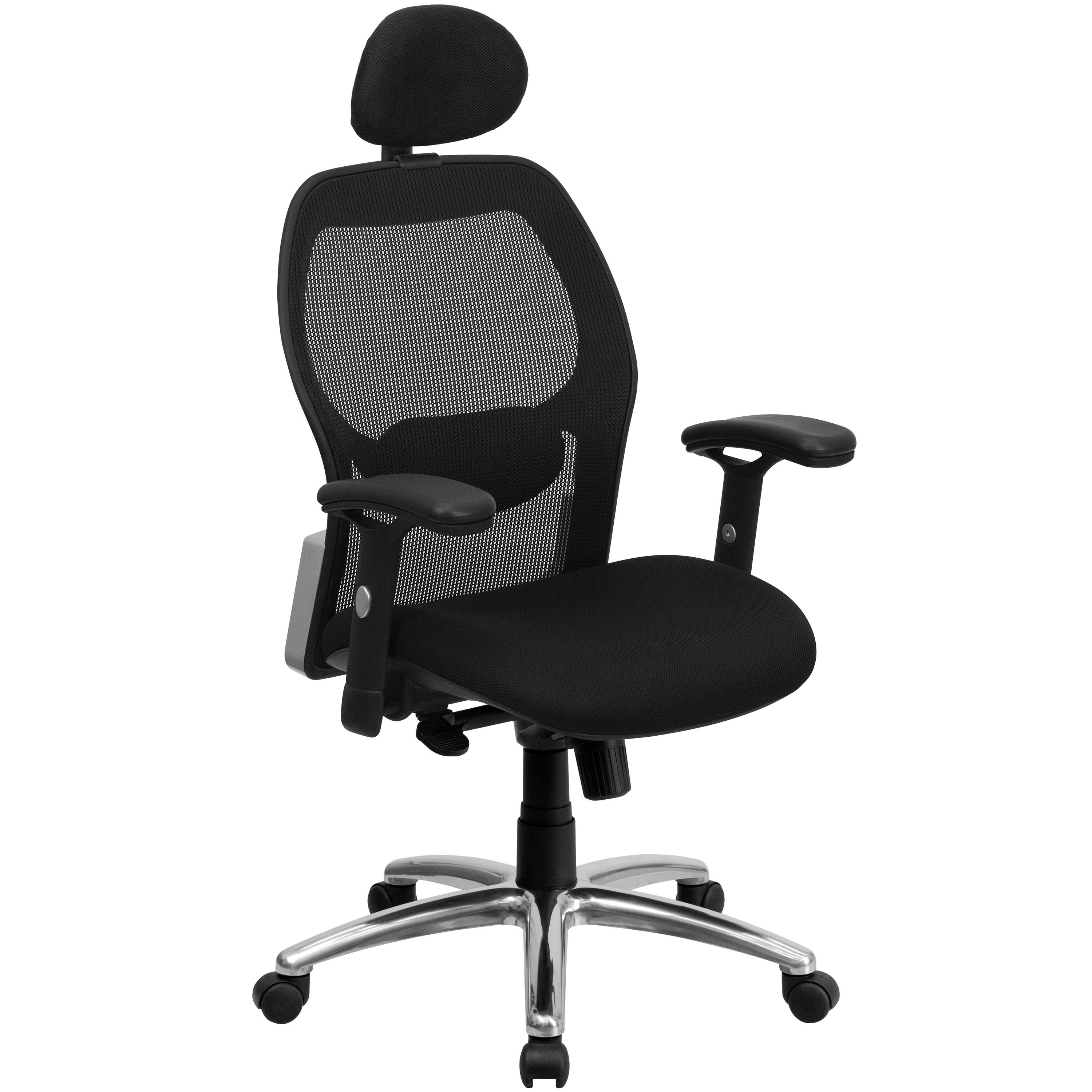 Flash Furniture LF-W42-HR-GG High Back Super Mesh Office Chair with Black Fabric Seat and Knee Tilt Control