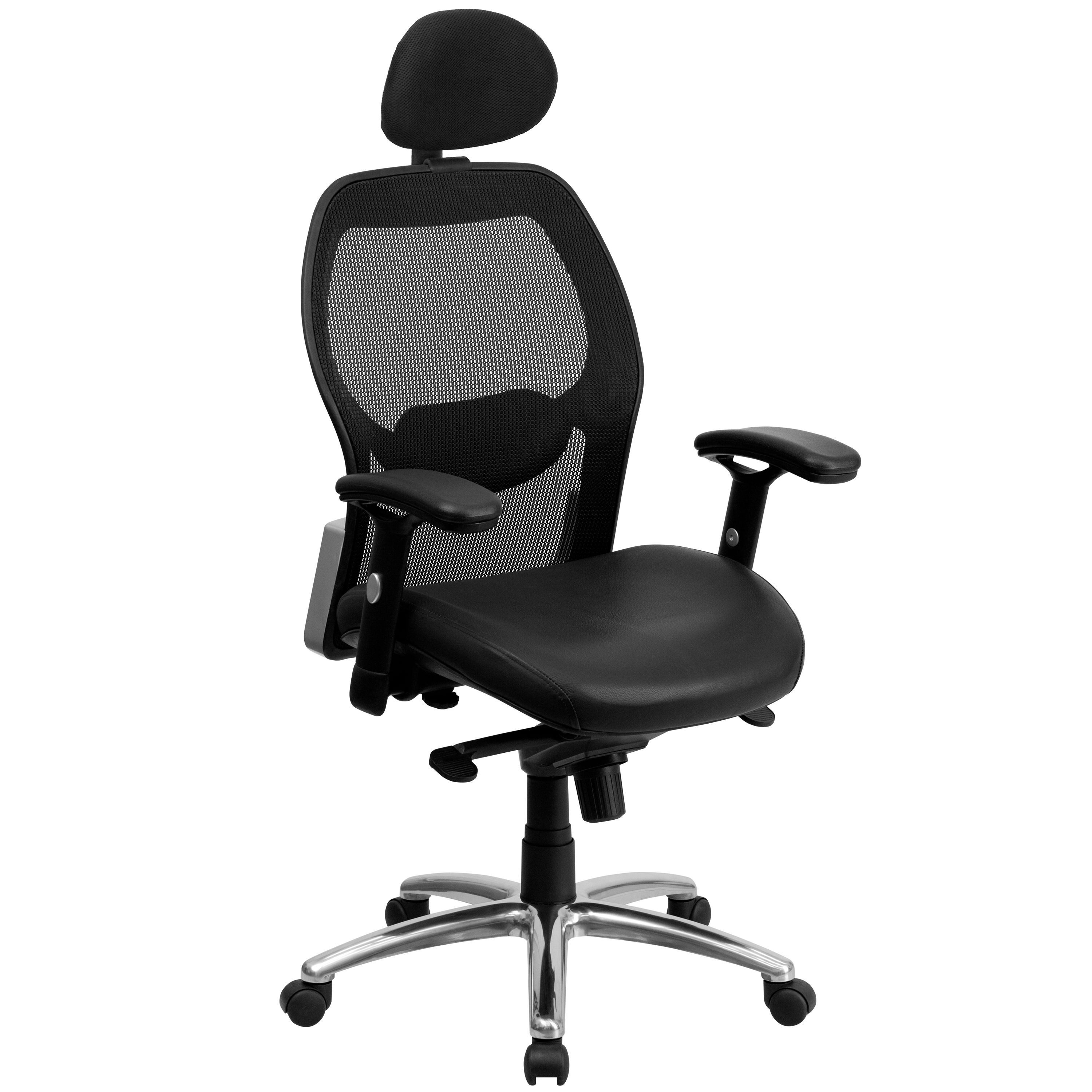 Flash Furniture LF-W42-L-HR-GG High Back Black Super Mesh Executive Swivel Office Chair with Leather Padded Seat and Knee Tilt Control