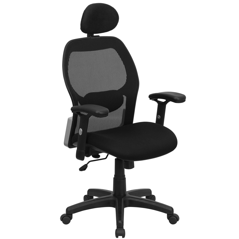 Flash Furniture LF W42B HR GG Super Mesh Chair with Headrest Mesh