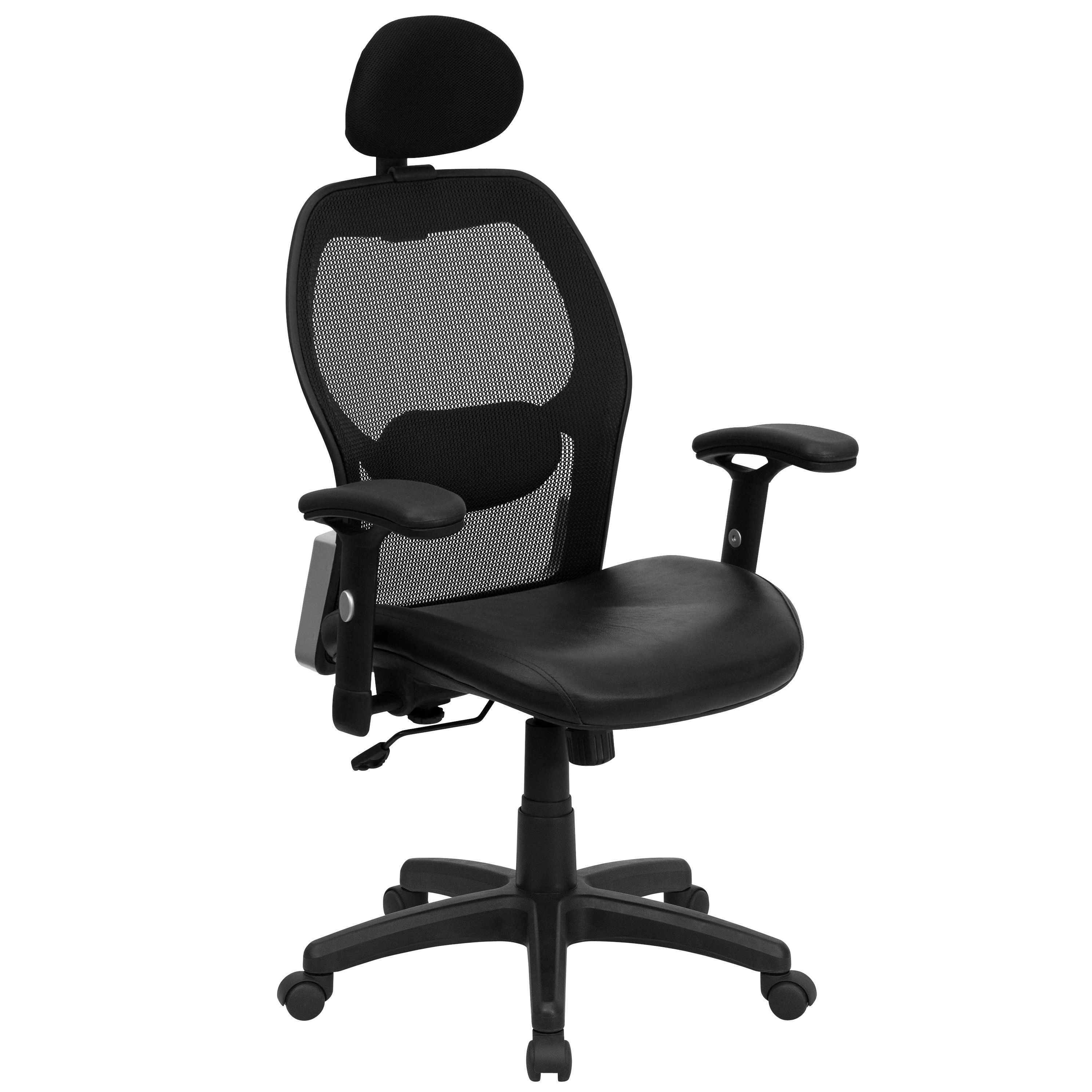 Flash Furniture LF-W42B-L-HR-GG Super Mesh Chair with Headrest, Mesh Back and Italian Leather Seat