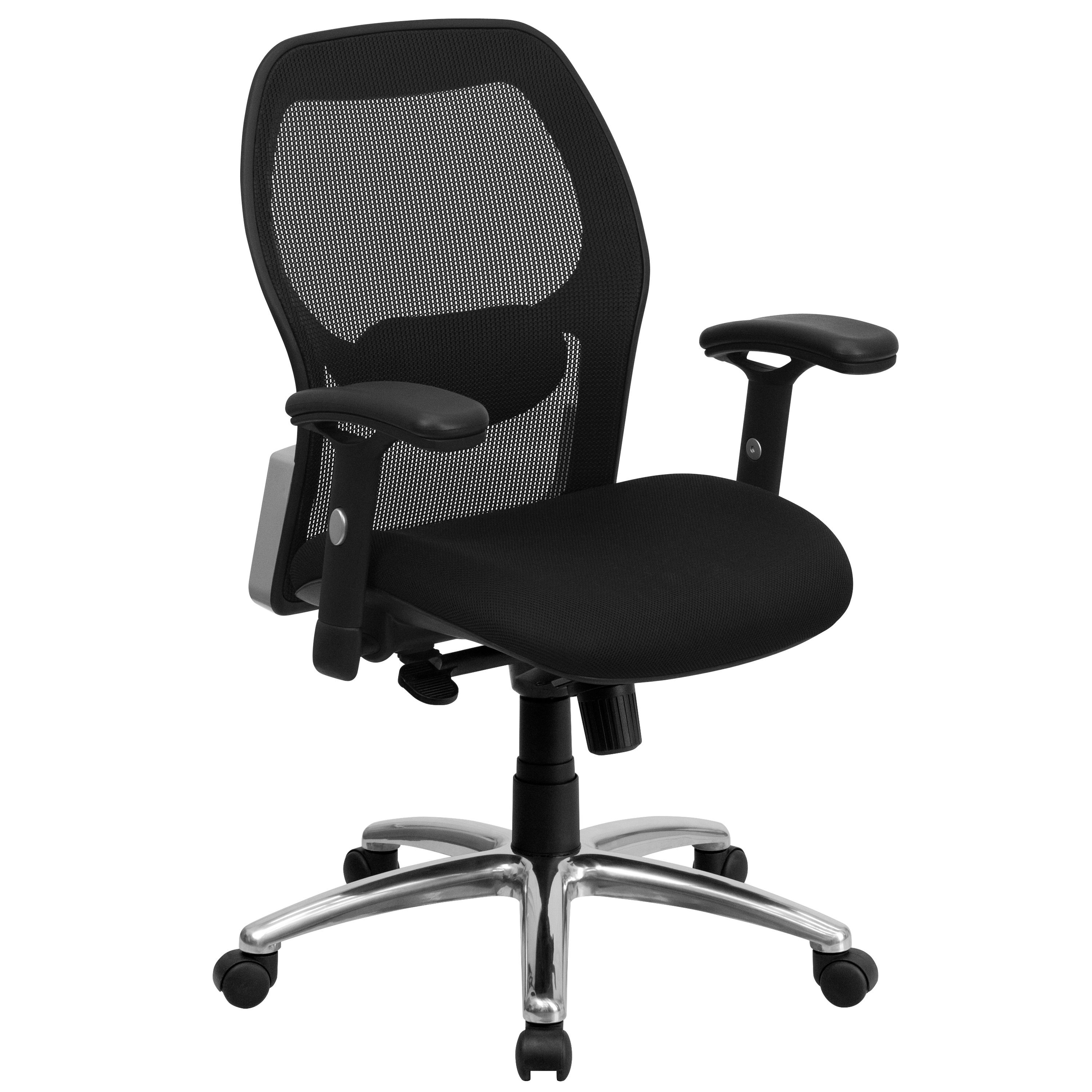 Flash Furniture LF-W42-GG Mid-Back Super Mesh Office Chair with Black Fabric Seat and Knee Tilt Control