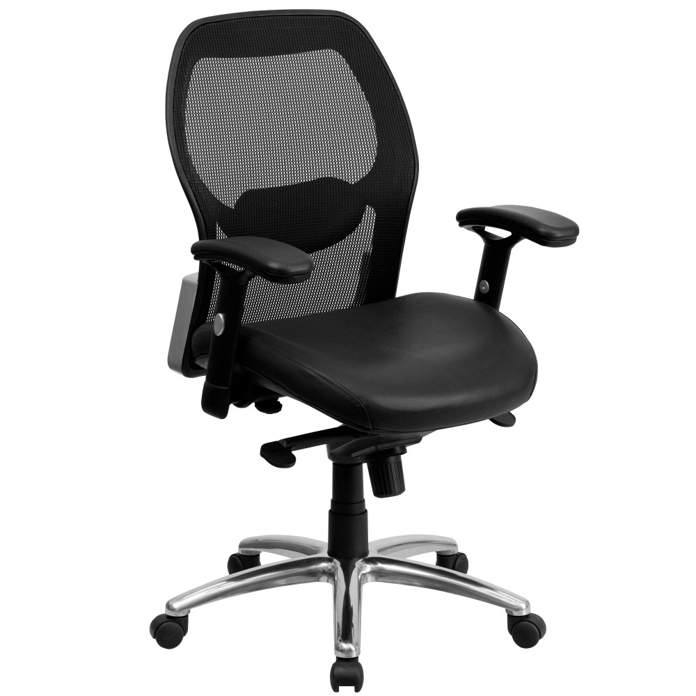 Flash Furniture LF-W42-L-GG Mid-Back Super Mesh Office Chair with Black Italian Leather Seat and Knee Tilt Control
