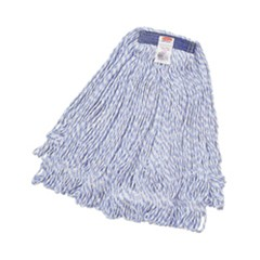 Super Stitch Finish Mops, Cotton/Synthetic, White, Large, 1-in. Blue Headband