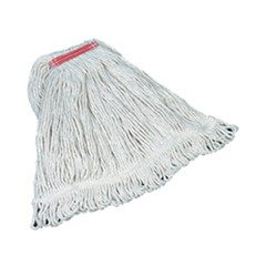 Super Stitch Mop Heads, Cotton, White, Large, 1-in. Red Headband