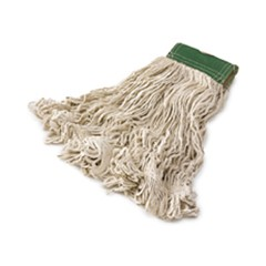 Super Stitch Mop Heads, White, Medium, Cotton, 5-in. Green Headband, 6/CS
