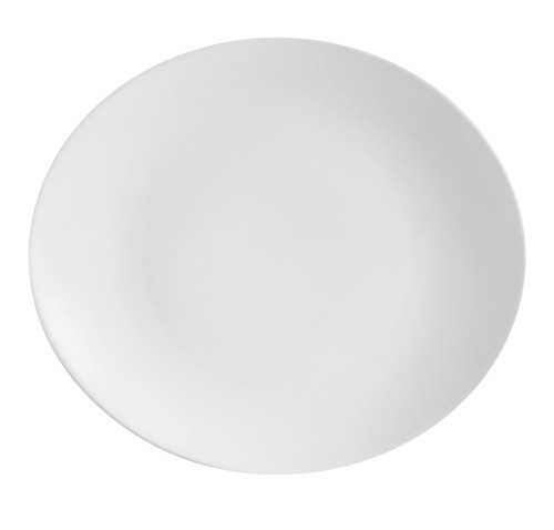 "CAC China COP-14 Super White Porcelain Oval Coupe Platter, 13"" x 11 3/8"" x 1 1/2"""