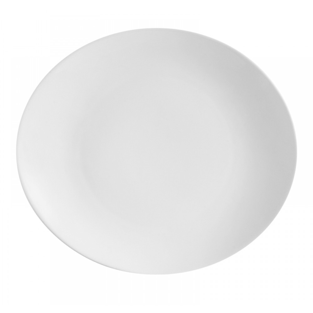"CAC China COP-13 Super White Porcelain Oval Coupe Platter, 12"" x 10 1/2"" x 1 1/2"""
