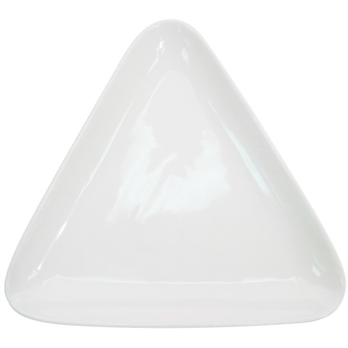 "CAC China COP-T21 Super White Porcelain Coupe Triangular Platter, 12 7/8"" x 11 7/8"""