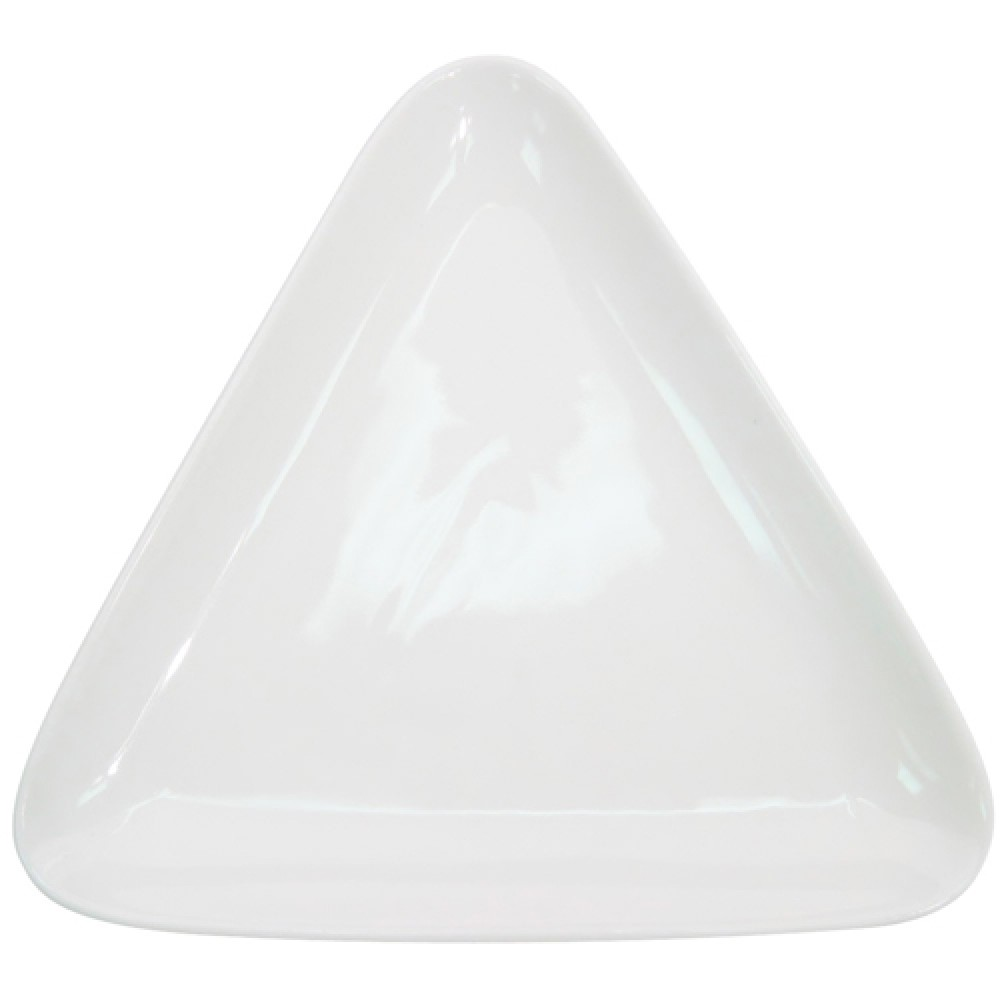 "CAC China COP-T16 Super White Porcelain Coupe Triangular Platter, 10 3/4"" x 10"""