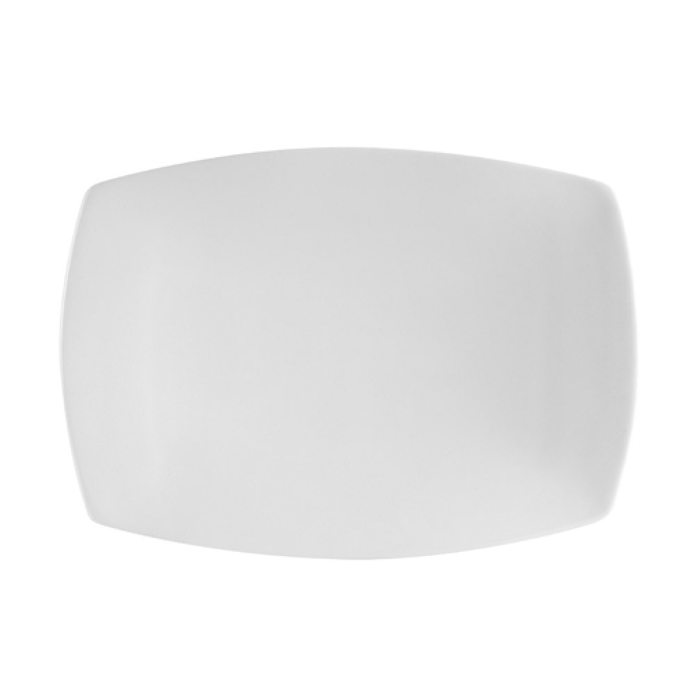 "CAC China COP-RT13 Super White Porcelain Rectangular Coupe Platter, 12-1/4"" x 9"""