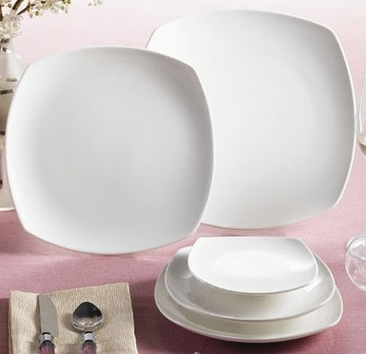 Super White Porcelain Square Coupe Plate - 11-1/4
