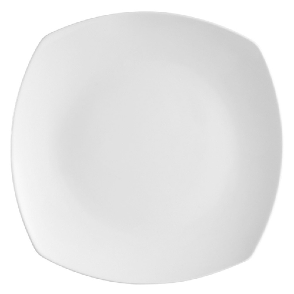 Super White Porcelain Square Coupe Plate - 9-1/4