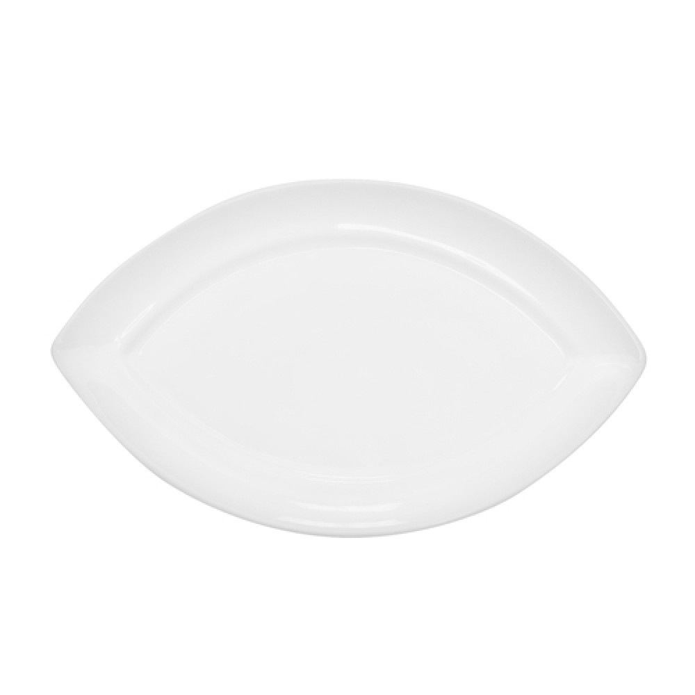 "CAC China RCN-SW61 Clinton Rolled Edge Swallow Platter, 16 1/2"" x 9 3/4"" x 1"""