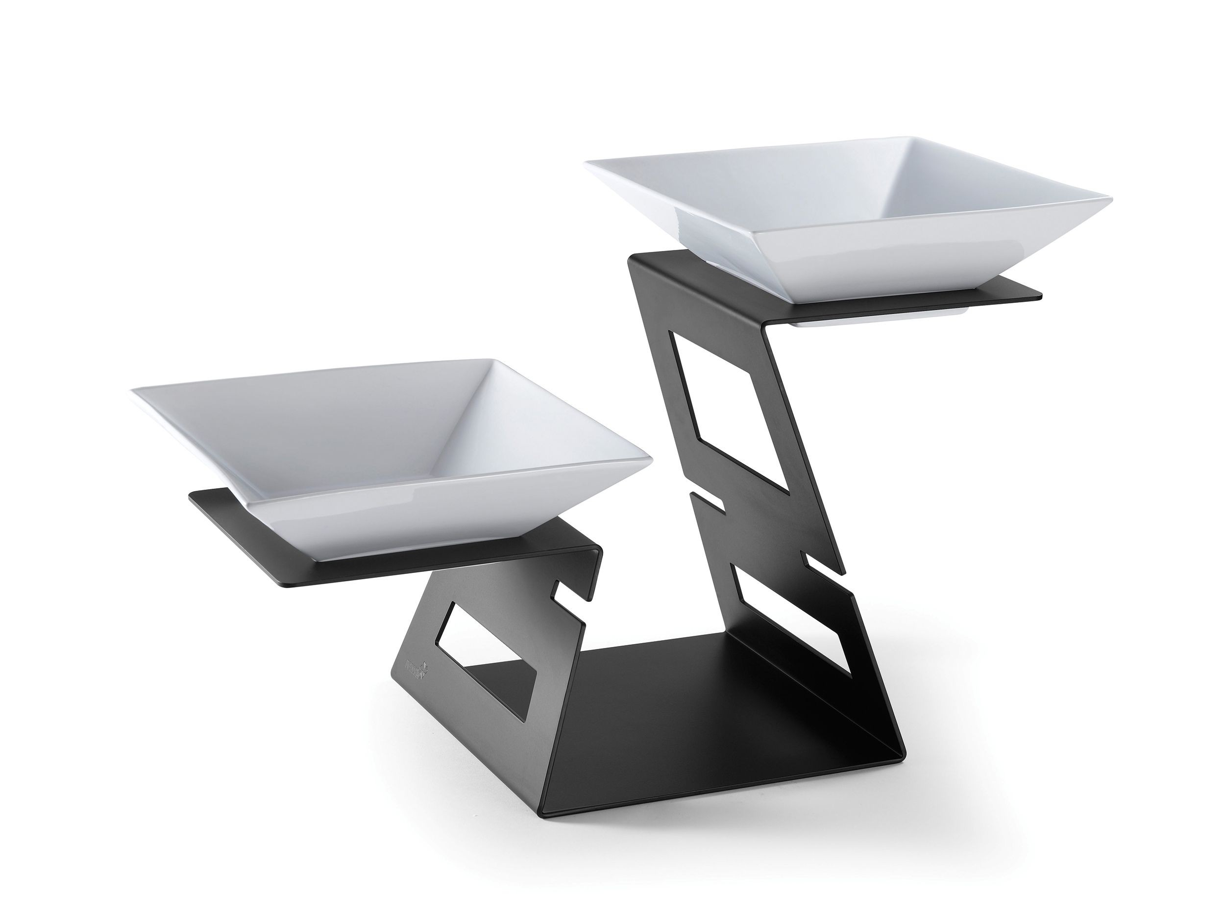 Swan - Multi-Level Riser Black Matte Powder Coated Steel Finish Includes: 2  Porcelain Bowls- 23.4