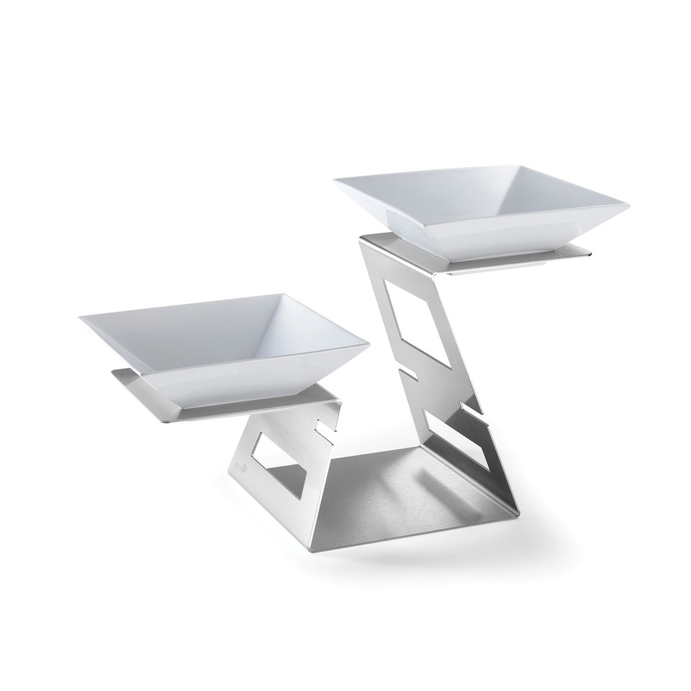 "Rosseto SM221 Swan Multi-Level Riser Stainless Steel Brushed Finish Includes: 2 Porcelain Bowls- 23.4"" x 10.75"" x 14.3""H"