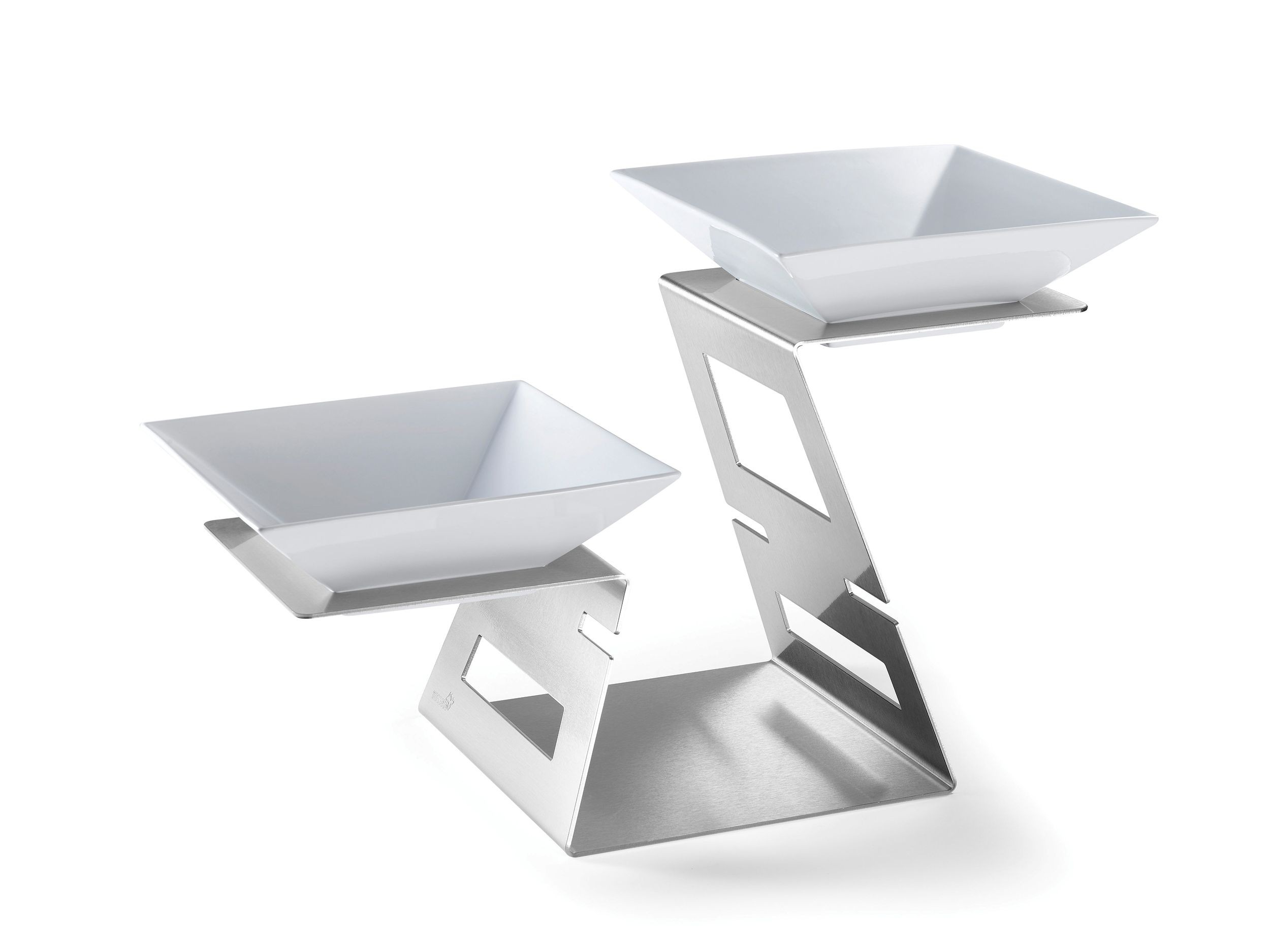 """Rosseto SM221 Swan Multi-Level Riser Stainless Steel Brushed Finish Includes: 2 Porcelain Bowls- 23.4"""" x 10.75"""" x 14.3""""H"""