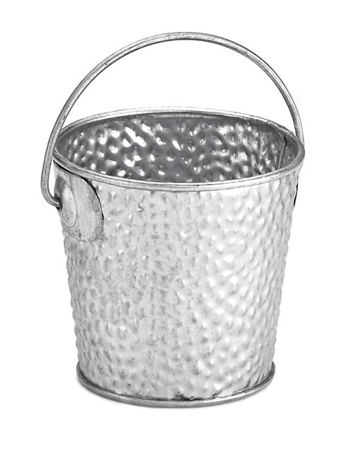 "TableCraft GT33 Galvanized Steel Round Pail with Handle, 3"" x 3"""