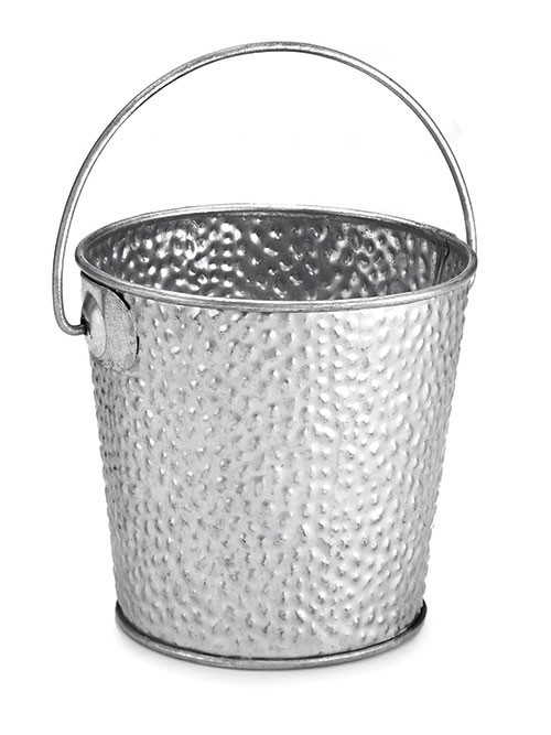 "TableCraft GT44 Galvanized Steel Round Pail with Handle, 4"" x 4"""