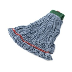 Swinger Loop Shrinkless Mop Heads, Cotton/Synthetic, Blue, Medium
